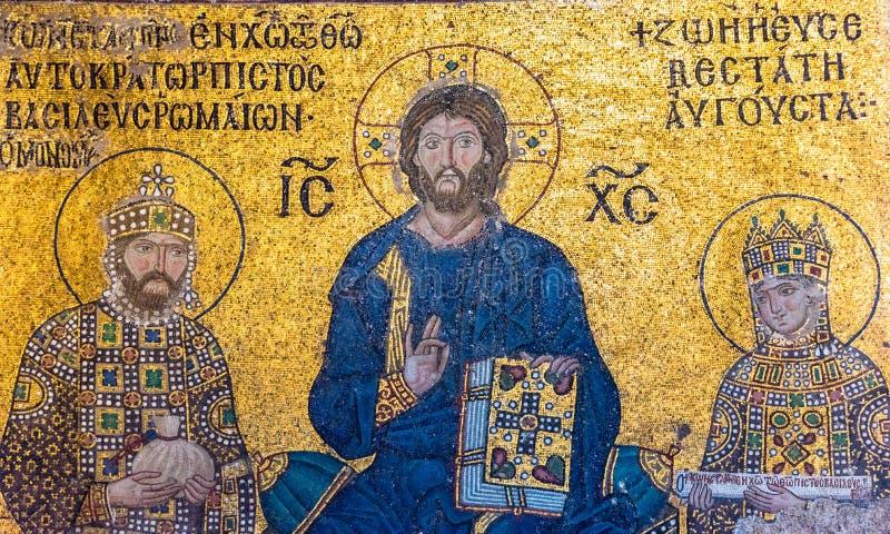 Mosaïque bizantine de Jesus Christ sur le trône image libre de droits