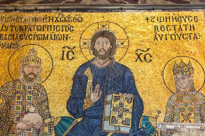 Mosaïque bizantine de Zoe d'impératrice dans Hagia Sophia photo libre de droits