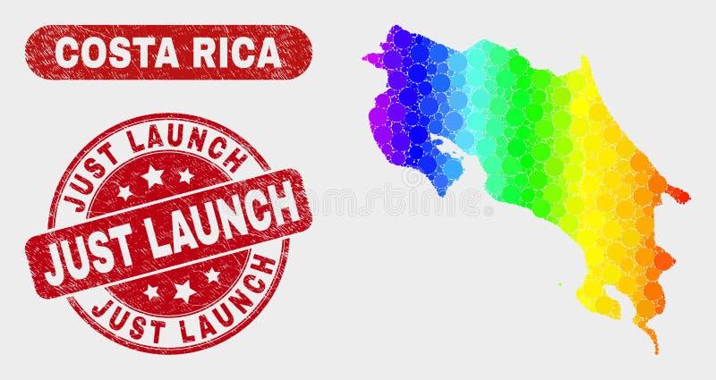 Mosaïque Costa Rica Map de spectre et affliger juste le filigrane de lancement illustration de vecteur