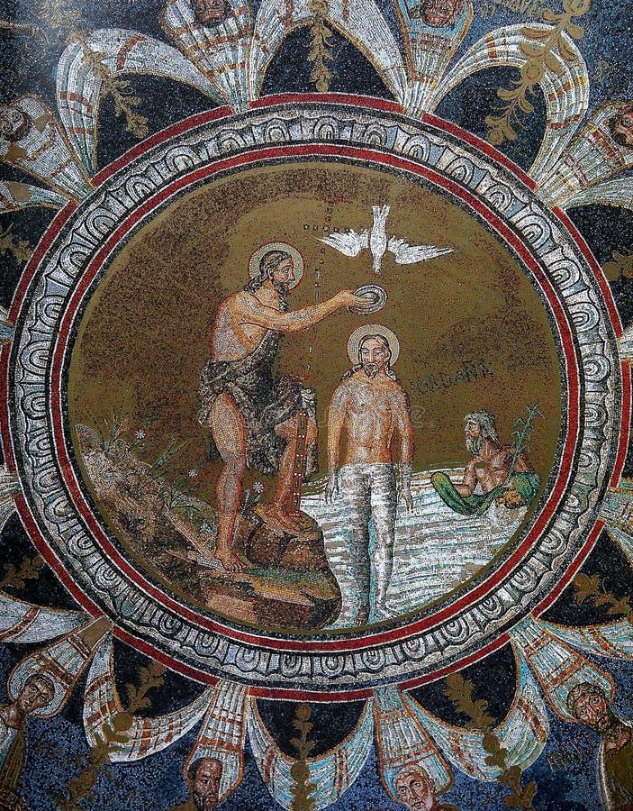 Mosaïque d'icône dans le baptistère du néon, Ravenne photos stock