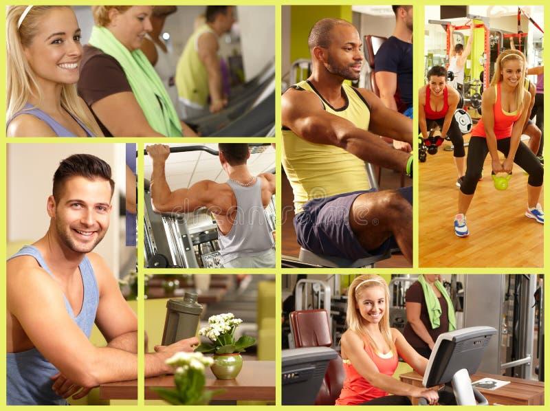 Mosaïque d'image de centre de fitness photographie stock