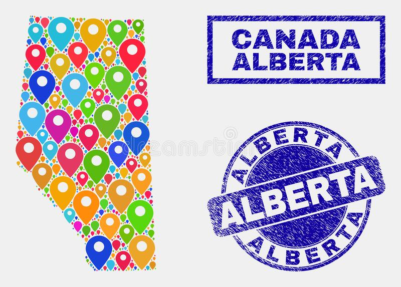 Mosaïque d'indicateurs de carte des joints d'Alberta Province Map et de détresse illustration de vecteur