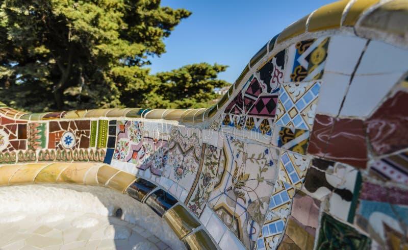 Mosaïque dans Parc Guell, Barcelone, Espagne images libres de droits