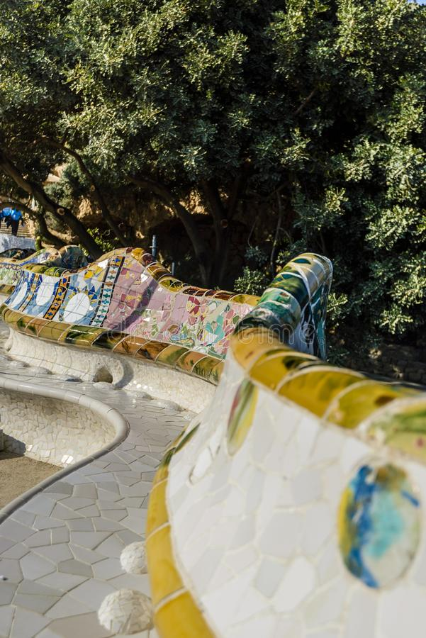 Mosaïque dans Parc Guell, Barcelone, Espagne image stock
