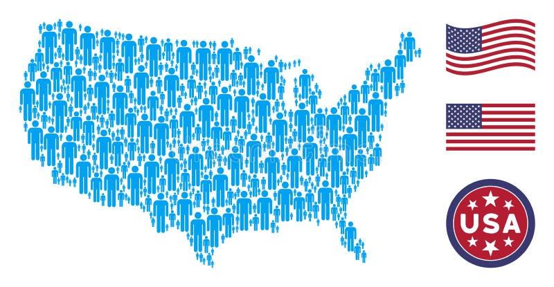Mosaïque de carte des Etats-Unis d'utilisateur de l'homme illustration de vecteur