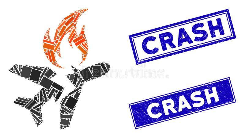 Mosaïque de crash d'incendie d'avion et timbres de crash rectangle criblés illustration stock