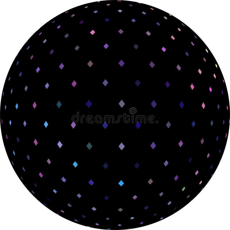 mosaïque de cristaux de décoration de globe du noir 3d petite Icône géométrique d'objet d'isolement illustration de vecteur