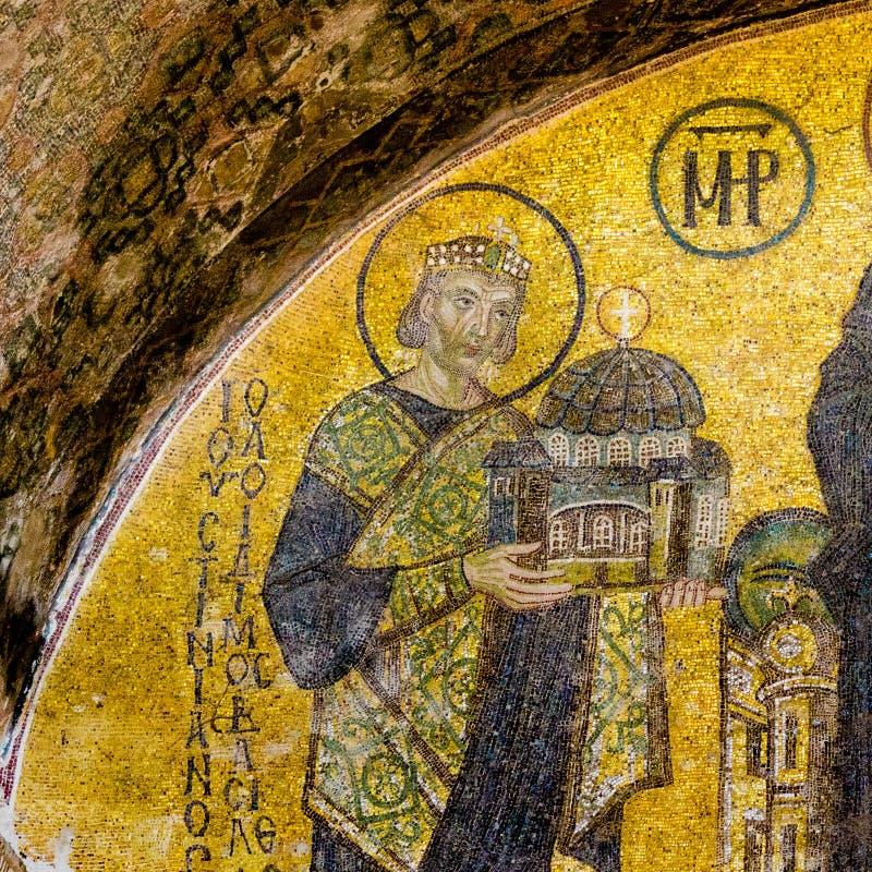 Mosaïque de l'empereur Justin dans Hagia Sofia, Istanbul photo libre de droits
