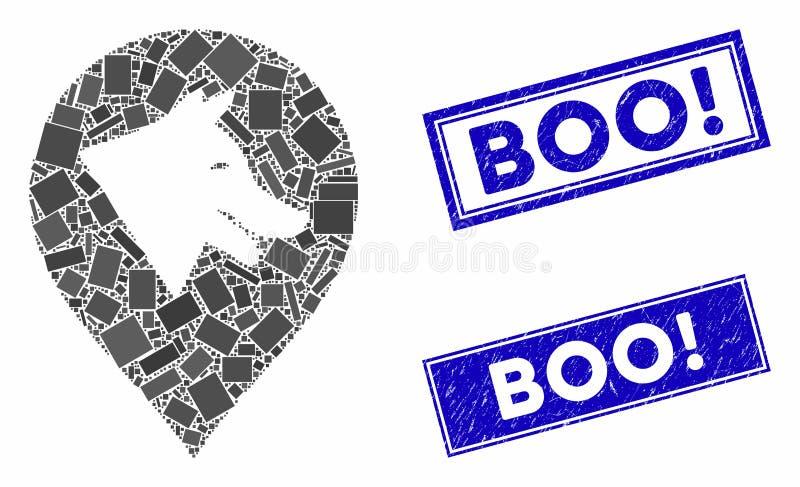 Mosaïque de marqueur de chien malin et rectangle de détresse Boo! Phoques illustration stock