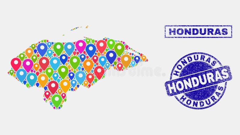 Mosaïque de marqueurs de carte de carte du Honduras et de timbres grunges illustration de vecteur