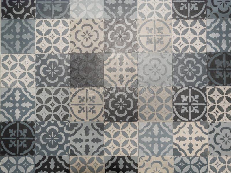 Mosaïque de modèle de vecteur de tuile de Lisbonne Azulejo, portugaise ou espagnole géométrique rétro vieille de tuiles, noir et  image stock