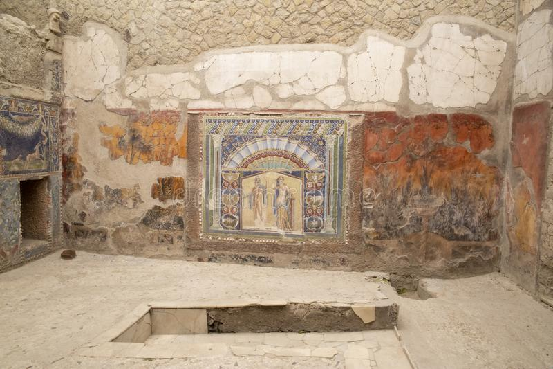 Mosaïque de Neptune et d'Amphitrite, Chambre de la mosaïque de Neptune, Herculanum photo libre de droits