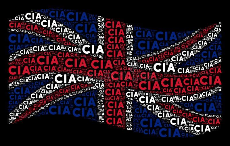 Mosaïque de ondulation de drapeau du Royaume-Uni des articles des textes de CIA illustration de vecteur