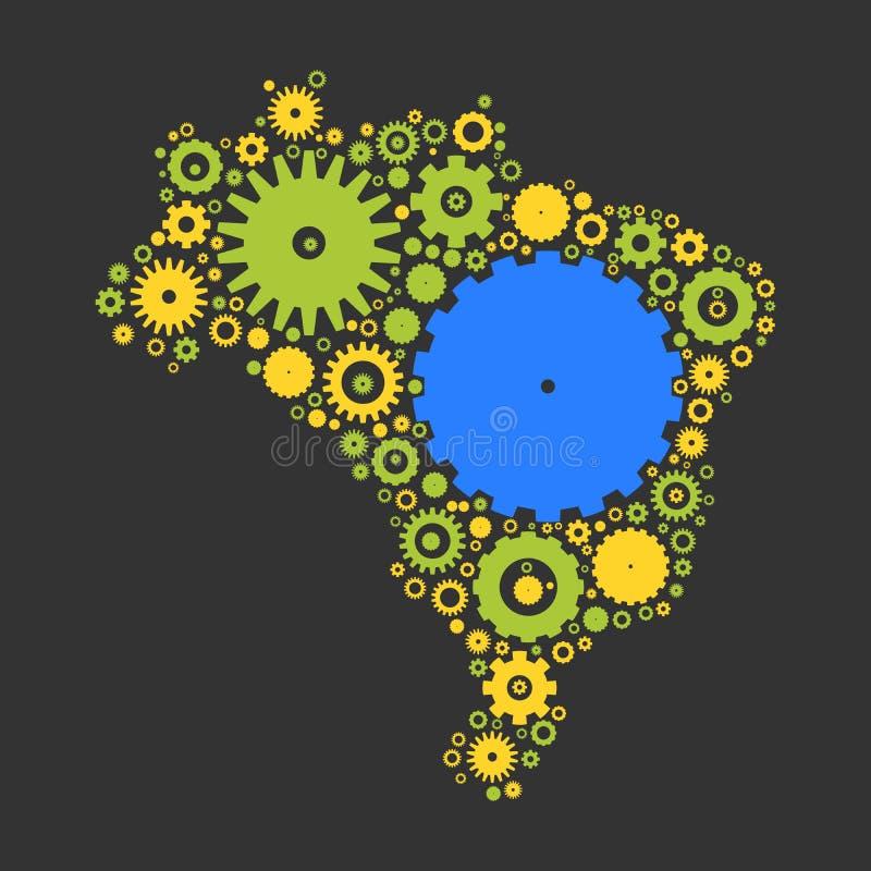 Mosaïque de silhouette de carte du Brésil des dents et des vitesses illustration libre de droits