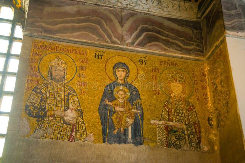 Mosaïque de Vierge Marie et Jesus Christ et d'autres saints dans l'église de Hagia Sofia, Istanbul, Turquie photo stock