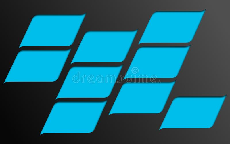 Mosaïque des formes bleues arquées et incurvées - papier peint graphique d'illustration de Digital illustration libre de droits