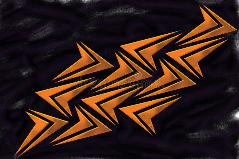 Mosaïque des formes oranges métalliques de flèche sur le fond noir de jet - papier peint illustration de vecteur