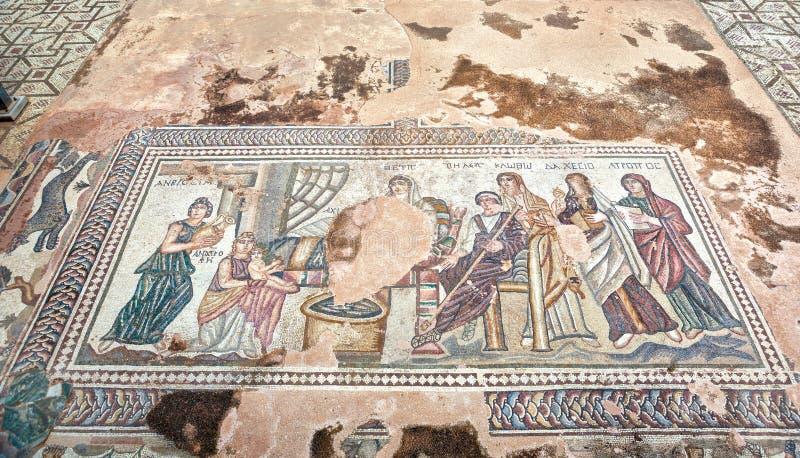 Mosaïque du grec ancien en parc archéologique de Paphos chez la Chypre photo stock