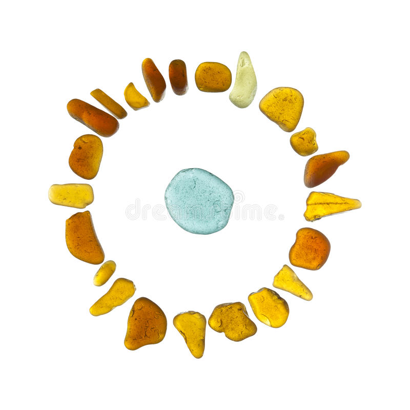 Mosaïque en verre de mer - caractère du soleil de style ancien photo libre de droits
