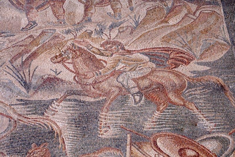 Mosaïque gratuite d'entrée de Villa del Tellaro Sicile romaine photos stock