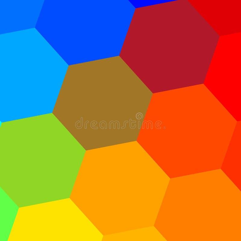 Mosaïque hexagonale colorée simple abrégez le fond Configuration géométrique Composition décorative en tuile Beau papier peint illustration stock