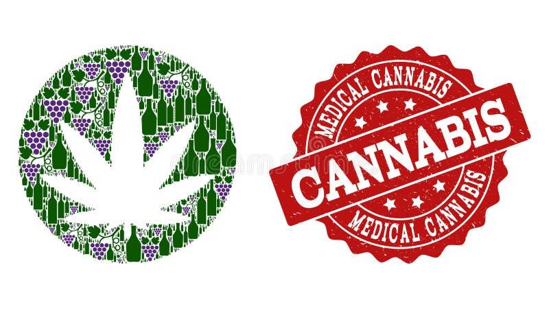 Mosaïque médicale de cannabis des bouteilles de vin et du raisin et du timbre de grunge illustration libre de droits