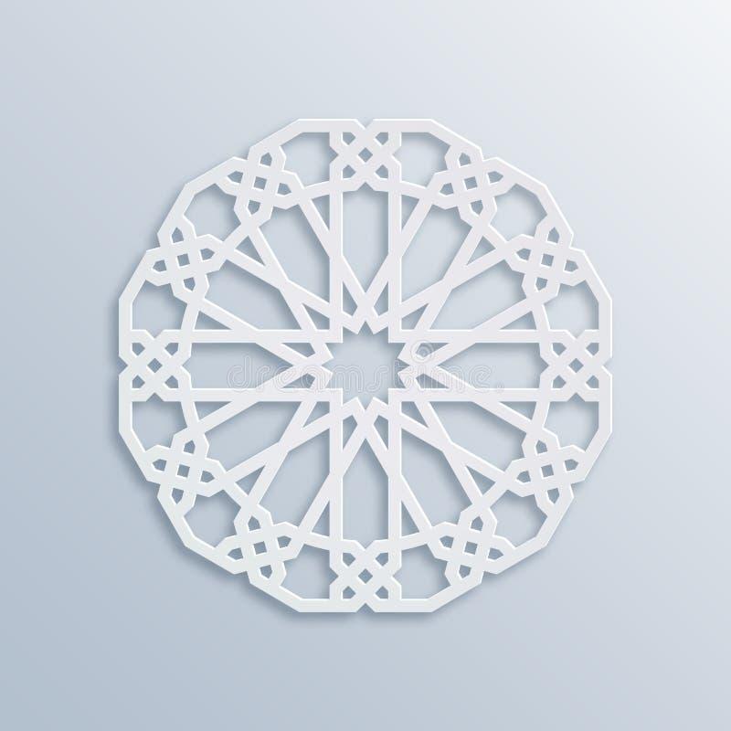 Mosaïque musulmane de vecteur, motif persan Élément de décoration de mosquée Configuration géométrique islamique Ornement blanc é illustration libre de droits