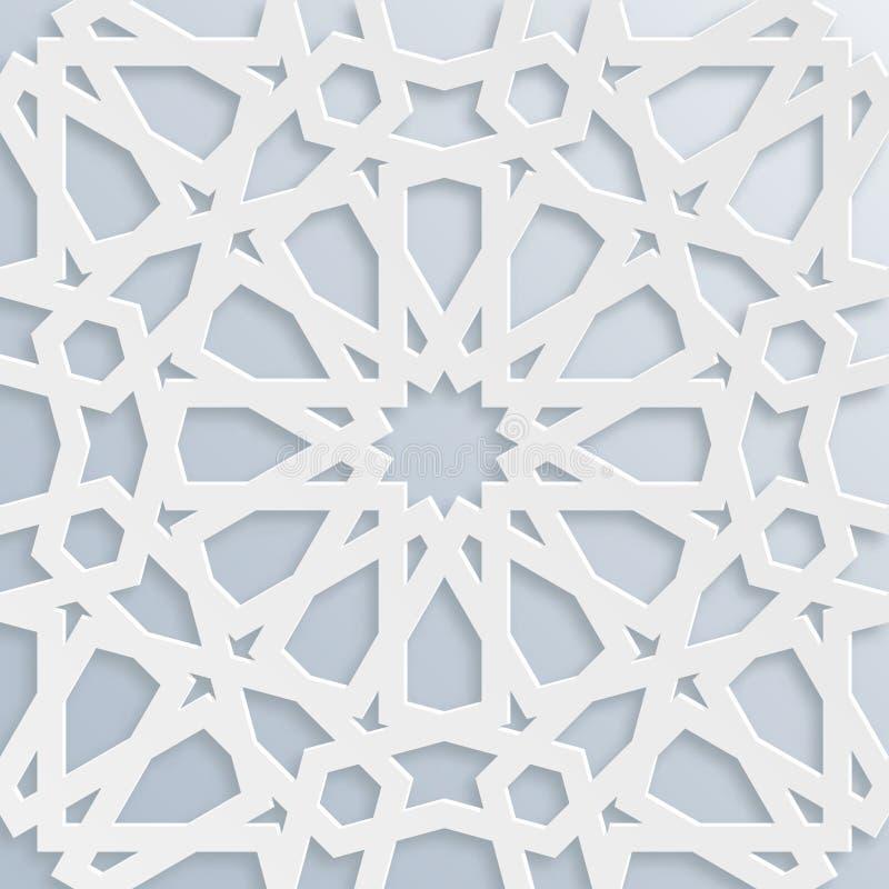 Mosaïque musulmane de vecteur, motif persan Élément de décoration de mosquée Configuration géométrique islamique Ornement blanc é illustration de vecteur