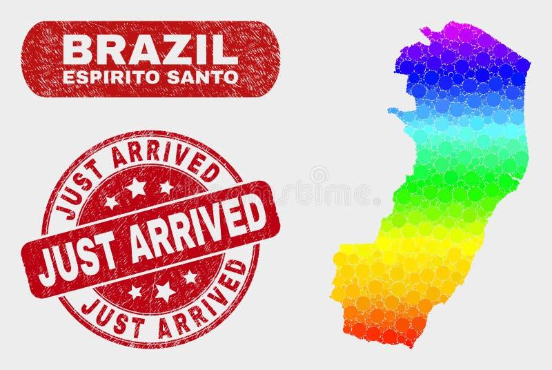 Mosaïque spectrale Espirito Santo State Map et juste joint arrivé rayé illustration stock
