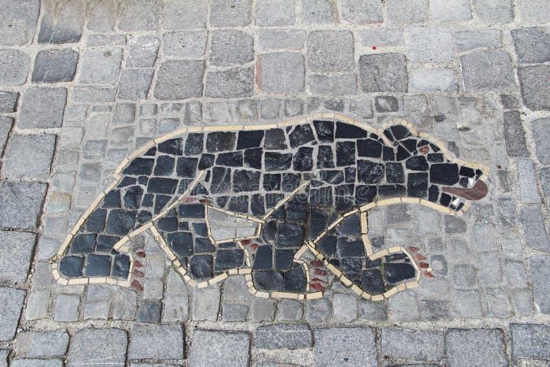 Mosaïque sur le trottoir : ours Stein AM Rhein switzerland photographie stock