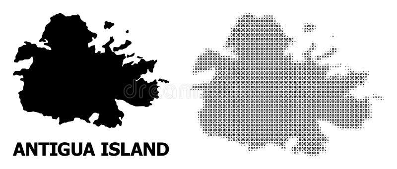 Mosaïque tramée de vecteur et carte solide d'île de l'Antigua illustration stock