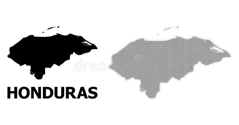 Mosaïque tramée de vecteur et carte solide du Honduras illustration stock