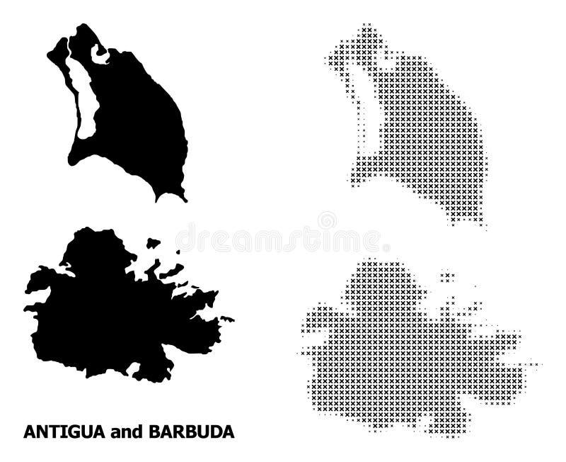 Mosaïque tramée de vecteur et carte solide de l'Antigua-et-Barbuda illustration de vecteur
