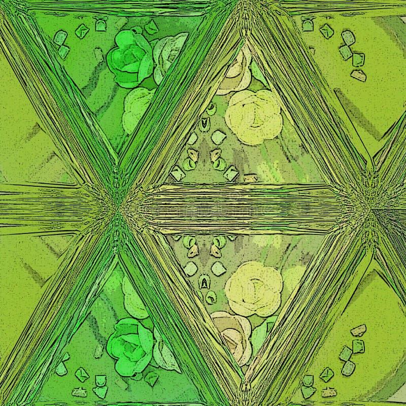 Mosaïque transparente en verre souillée de tuile de couleur verte illustration de vecteur
