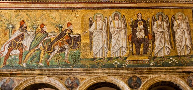 Mosaïques de Ravenne de saint Apollinare Nuovo image stock