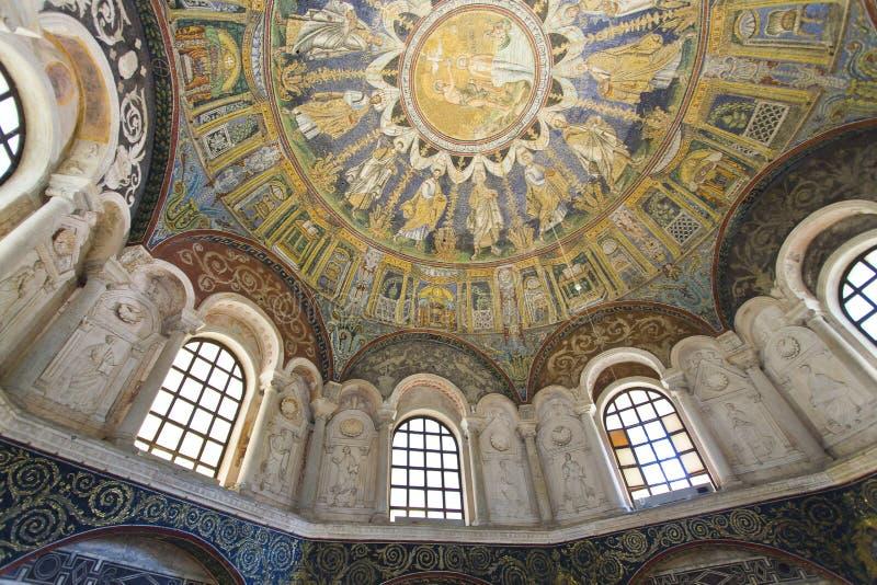 Mosaïques de Ravenne du baptistère du néon image libre de droits