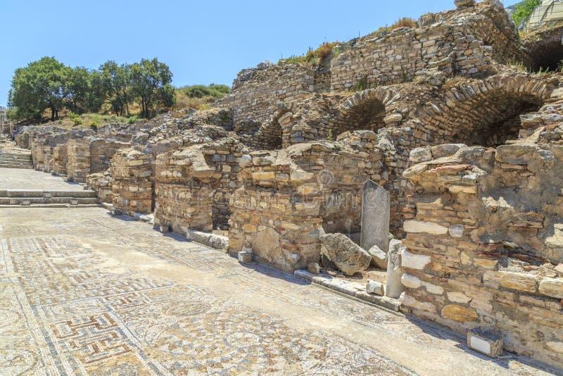 Mosaïques devant des maisons de terrasse dans Ephesus, Izmir, Turquie photographie stock