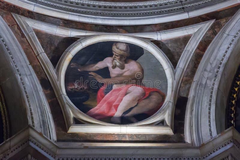 Mosaïques par Raphael dans la chapelle de Chigi dans la basilique de Santa Mari photographie stock libre de droits