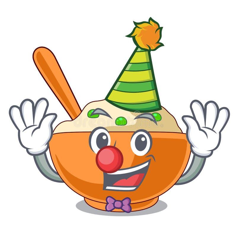 Mosad potatis för clown över i tecknad filmplatta stock illustrationer