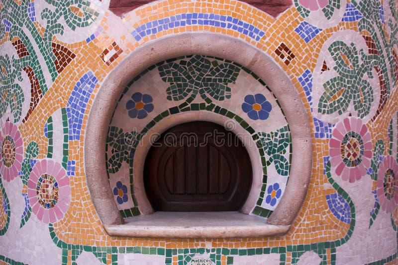 Mosaic. Pillar filled with mosaic details stock image