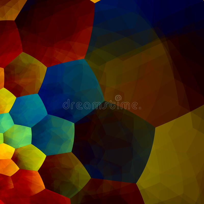 Mosaic Abstract Background. Generative Art Red Blue Yellow Color. Design Element in Rainbow Colours. Geometric Colorful Banner. royalty free illustration