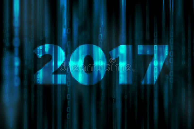 2017 mosaic abstract digital science fiction matrix background with happy new year concept stock illustration