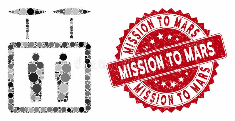 Mosaic Airdrone Elevator with Scratched Mission to Mars Seal vector illustration