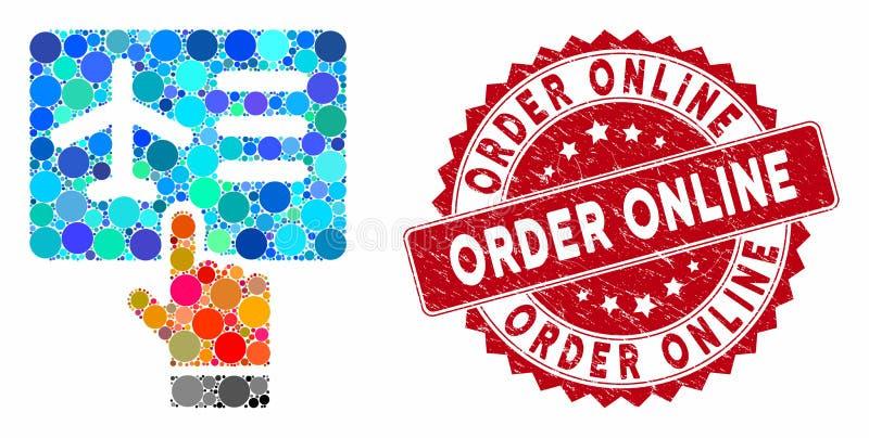 Mosaic Airline Ticket Booking with Distress Order Online Stamp illustration de vecteur
