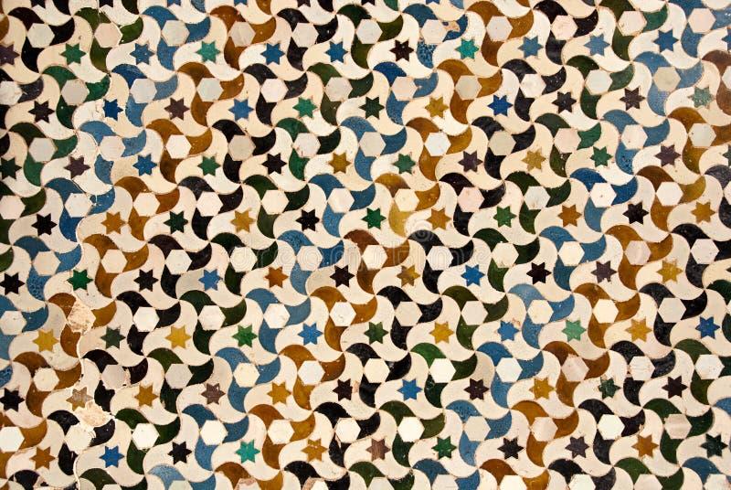 Mosaic at the Alhambra palace in Granada royalty free stock photo