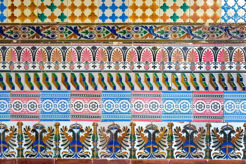 Mosaic of ancient colorful azulejos (spanish ceramic tiles) royalty free stock image
