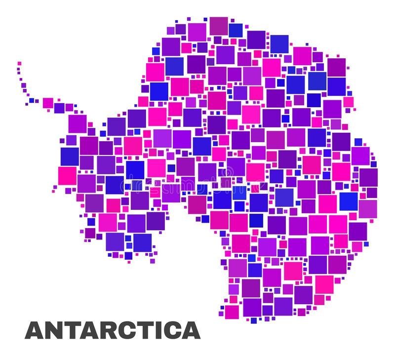 Mosaic Antarctica Continent Map of Square Items. Mosaic Antarctica continent map isolated on a white background. Vector geographic abstraction in pink and violet royalty free illustration