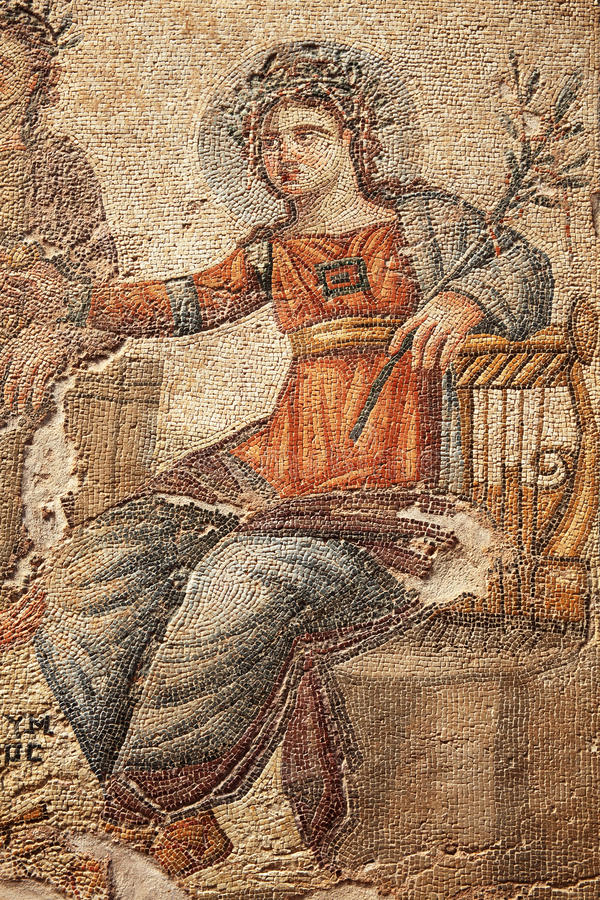 Mosaic of Apollo. Apollo from the 4th century Roman mosaic of Apollo and Marsyas at the House of Aion, Paphos Archaeological Park, Cyprus stock photo