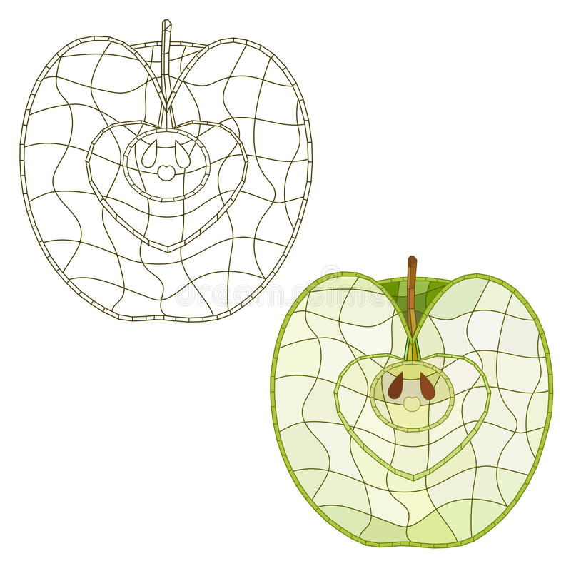 Mosaic apple slice. isolated. easy to modify. stock photo
