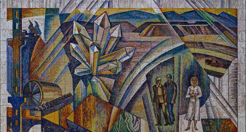 Mosaic art of mine industry royalty free stock photos